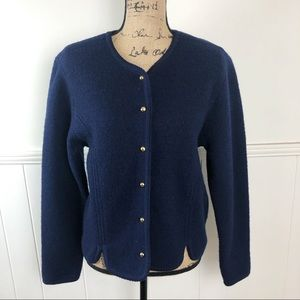 Vintage Crystal Sportswear Blue Wool Cardigan Top